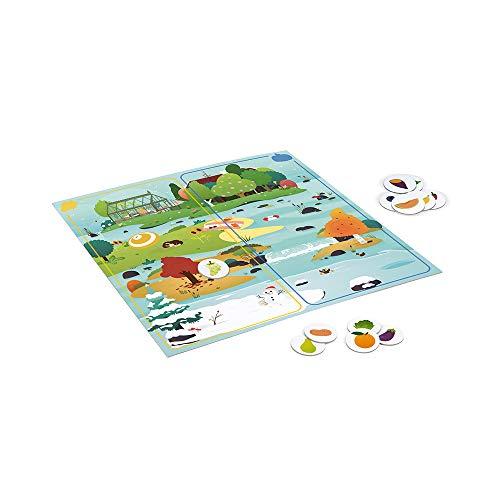 Janod Mesa 2 en 1 Veggie Planet Juego lúdico Educativo Conocer Las Frutas y Verduras Fabricado en Francia Colaboración con WWF Cartón con Certificado FSC A Partir de 5años ( J08640)
