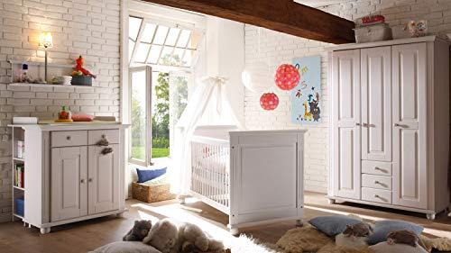 Möbel Akut Babyzimmer Kiefer massiv weiß Kinderzimmer Laura Set 2 mit Kleiderschrank 3-türig