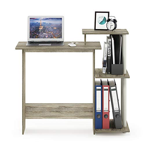 FURINNO Efficient Home Laptop Notebook Computer Desk, Sonoma Oak/White