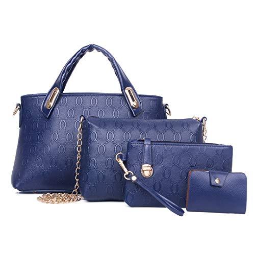 Frauen-Beutel 4 PC EIN Satz mit wenig Bier Dekoration Diamant-Gitter-PU-Leder Damen Handtasche Blue Max Length 30-50cm