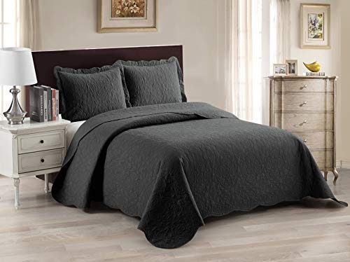 Luxury Home Collection 3 Piece King/California King Oversized Ultrasonic Embossed Coverlet Bedspread Set Solid Charcoal