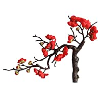 NUOLUX 造花中国梅の花人工花枯れない花花束人工観葉植物フラワーアレンジメント結婚式飾りインテリアパーティー庭園(赤)