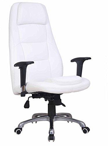ECO-DE Bürostuhl mit Armlehnen, höhenverstellbarer Drehstuhl, Wippmechanismus, hochwertiges Kunstleder. Weiss