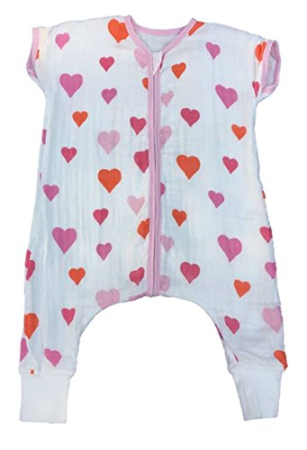 Baby Sleeping Bag With Feet Muslin 1.0 Tog (18-24 Meses, Hearts)