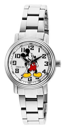 Invicta Relógio Feminino Disney Edição Limitada Quartzo com Pulseira de Aço Inoxidável, Prata, 16 (Modelo: 27394)