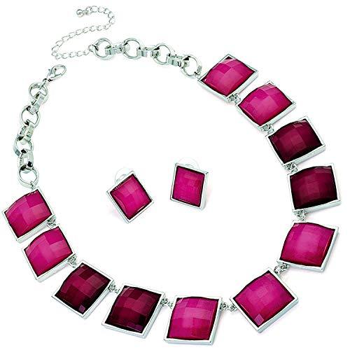 Zweifarbige Fuchsia-Pink- & Silber-Halskette und Ohrringe, Schmuck-Set