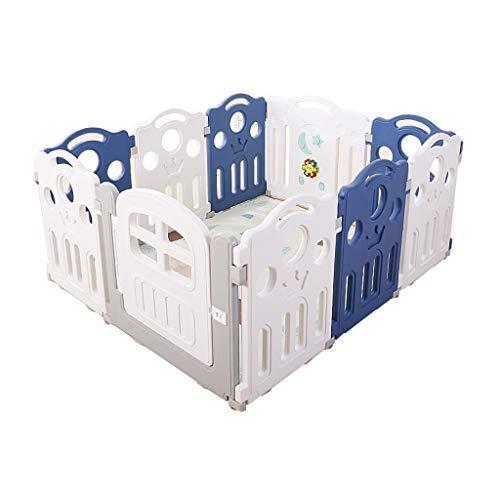 Baby opvouwbare speelhek, valbescherming voor kinderen, werkruimte voor kinderen 10 plaatsen draagbaar buiten en binnen hek, blauw en wit 120 * 150 cm (kleur: blauw + wit) blauw+wit