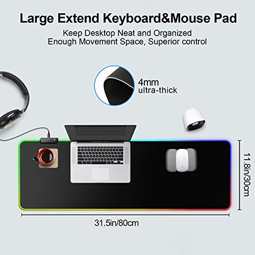 """BZseed RGB Gaming Mouse Pad X Large, Black Extended LED Mouse Pad 30% Larger Size(31.5""""×11.8""""), Anti-Slip Base Computer Keyboard Mouse Mat for Gaming Computer/Laptops/Office Desk Photo #4"""