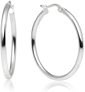 Sterling Silver High Polished Round-Tube Click-Top Hoop Earrings