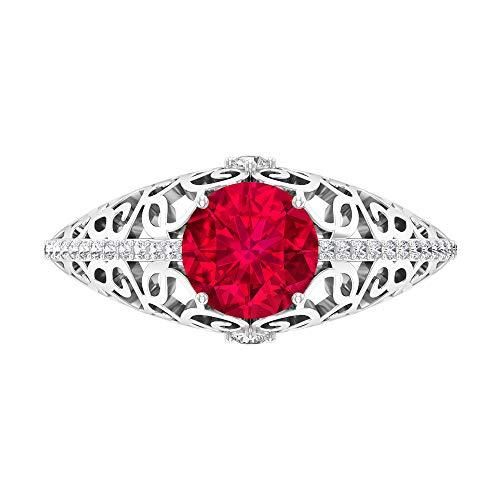 Anillo solitario de rubí de 7 mm para mujer, D-VSSI, anillo de oro moissanita, anillo de compromiso de piedra lateral, anillo de novia vintage, anillo de filigrana, 10K Oro blanco, Size:EU 56