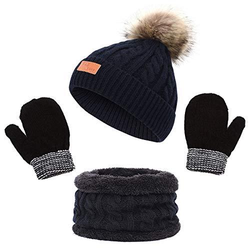 Warme Wintermütze Schal Handschuhe Set Strickmütze Mädchen Jungen Beanie Hut Winter Warme Mütze Babymütze Kinder runder Schal Handschuhe Set für Kinder 3-8 Jahre (Schwarz)