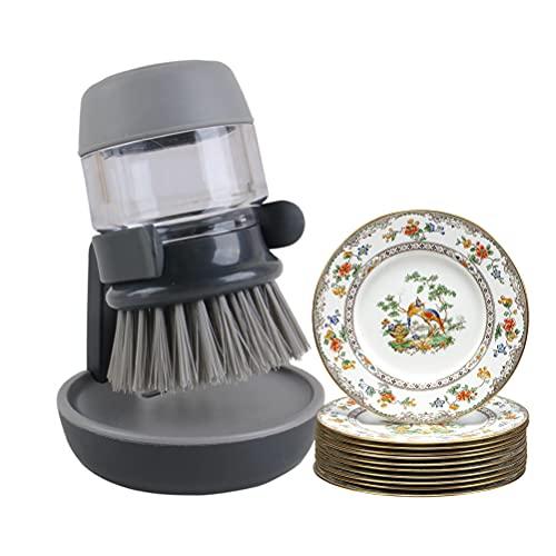 IWILCS Cepillo de Cocina con Dispensador, Cepillo de Palma Dispensador de jabón de Mano Cepillo de Palma Cepillo de Palma con Dispensador de Jabón para Platos de Cocina