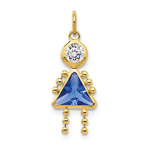 14k Yellow Gold September Girl Birthstone Pendant Charm Necklace Kid Fine Jewelry For Women Gifts For Her