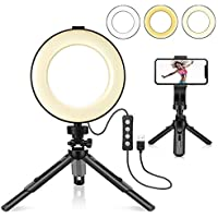 LiZHi LED Dimmable Ring Light with Tripod Stand & Phone Holder
