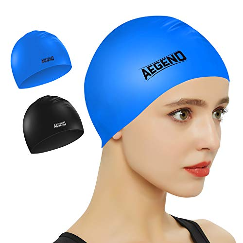 Aegend 2 Pack Swim Cap, Durable Silicone Swimming Caps for Long Hair Short Hair, Adult Youth Women Men, Black Blue