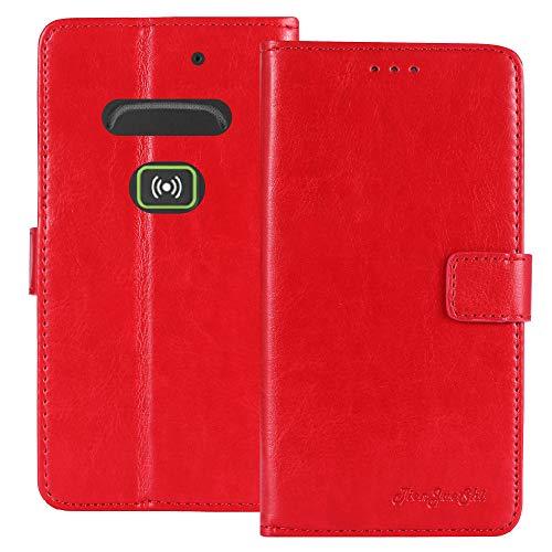 TienJueShi Rot Retro Business Flip Book Stand Brief Leder Tasche Schütz Hülle Handy Hülle Für Doro Secure 580IUP Abdeckung Wallet Cover Etui