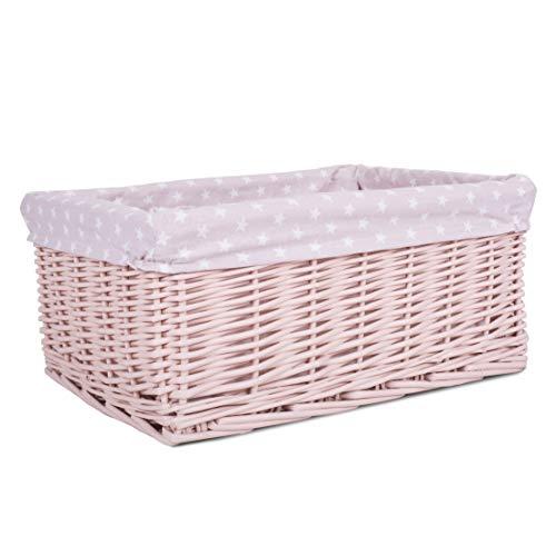 Greenleaves Colorful Painted Nursery Baby Room Wicker Storage Basket New Born Gift Hamper (Pink, Large)