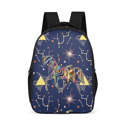 BTJC8 Psychedelic Horse Rucksack, stilvoll, großer Schulrucksack – magischer Druck Schulranzen Laptop, hohe Qualität für Mädchen und Jungen Einheitsgröße grau