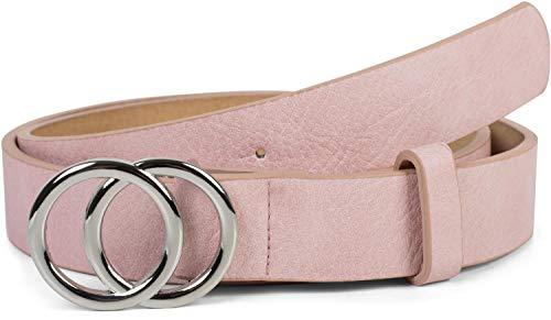 styleBREAKER Damen Gürtel Unifarben mit Ringschnalle, Hüftgürtel, Taillengürtel 03010093, Größe:85cm, Farbe:Rosa-Silber