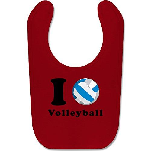 Sport Baby - I Love Volleyball - Unisize - Rot - BZ12 - Baby Lätzchen Baumwolle