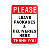 Enjoyist Please Leave Deliveries and Packages Here Sign 12'x 8' .04' Aluminum Sign Rust Free Aluminum-UV Protected and Weatherproof