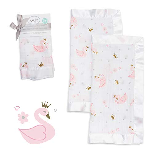 lulujo Baby Security Lovie Blankets| Unisex Softest Breathable Cotton Muslin Security Blanket with Silky Satin Trim| Neutral Comforting Blanket for Girls & Boys | 16in by 16 in| Swan