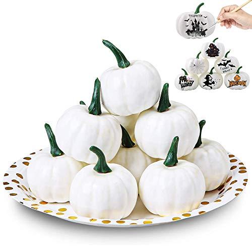 SUNSK Kürbis Deko Herbst Thanksgiving Dekoration Weiße Künstliche Kürbis Halloween Herbstpartys Weihnachtsdekoration Mini Kürbis 12 Stück