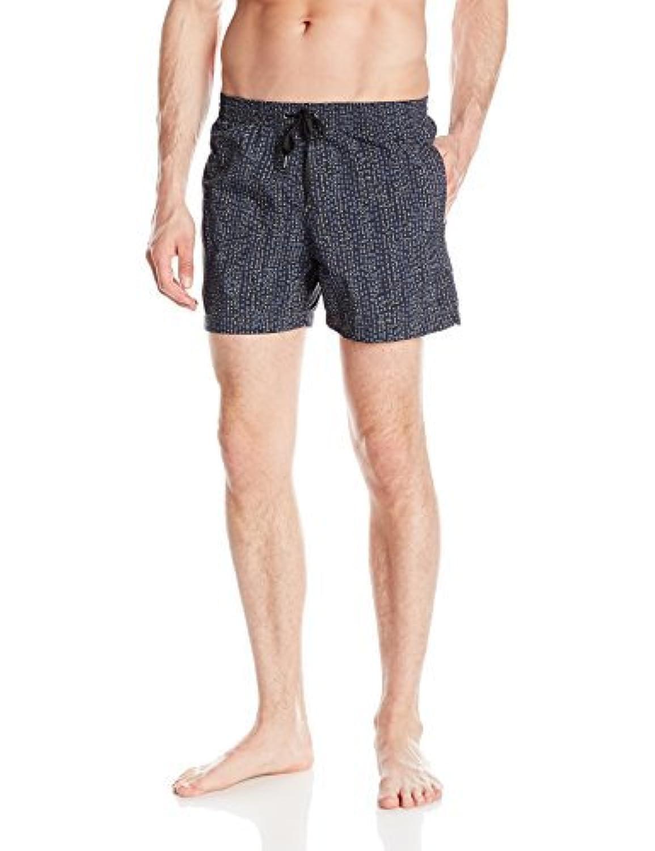 Danward Men's Printed Elastic Waist Capri Swim Trunk Slate Small [並行輸入品]