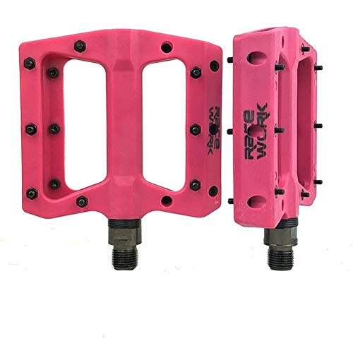 WENYOG Pedales Bicicleta Teniendo Concisa Compuesto Plana MTB Pedales de Bicicletas de montaña de Fibra de Nylon Grande del pie Bicicleta de Carretera Pedales Bicicleta MTB 06 (Color : Pink)