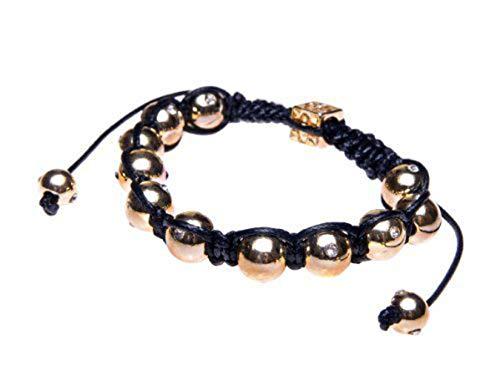 Andante-Stones Elegante SHAMBALA Bracciale Dimensione regolabile 16-22 cm Nero - oro + sacchetto di organza