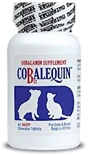 Cobalequin Cobalamin Supplement Vitamin B12 for dogs and cats under 22 pounds chicken flavor tiny tab