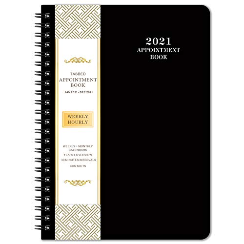 """2021 Planner & Appointment Book - Jan. 2021 to Dec. 2021, 6.4"""" x 8.5"""", Daily/Hourly Planner with Tabs, Black"""
