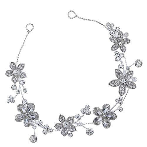 TYWZJ Mujeres Vogue Zirconia Flor Diamante de imitación Diadema Nupcial Accesorios para...