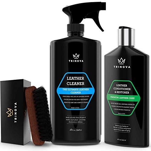 TriNova Leather Care Bundle Leather Cleaner, Leather Brush, and Leather Conditioner to Clean and Condition Leather Goods