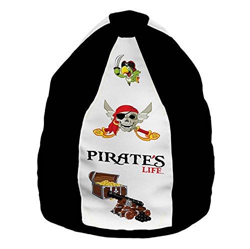 XXL Discount Pouf avec fermeture éclair et sac intérieur séparé - Pour enfants - Fonctions 2 en 1 avec rembourrage - Coussin de sol - Fauteuil Lazy Bag XL - Motif : pirates