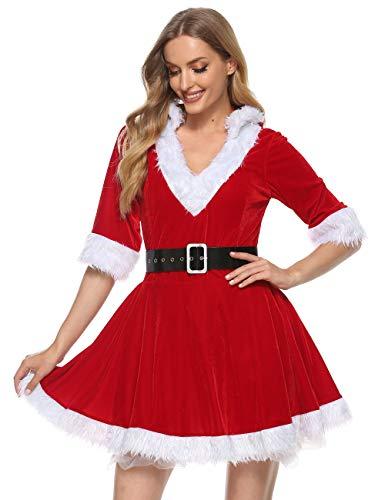 Springcmy Disfraz de Santa Claus para mujer, disfraz de Navidad, vestido de terciopelo con capucha