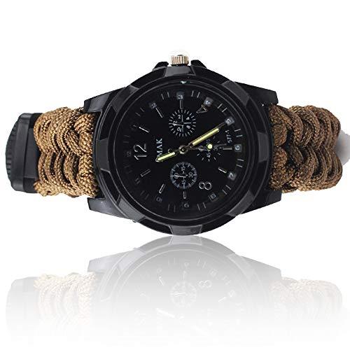 Unbekannt Dean Outdoor Sport Survival Uhr Multifunktions-Regenschirm Seil Thermometer Pfeife Kompass Feuerstarter Camping Bootfahren Jagd Wanderuhr