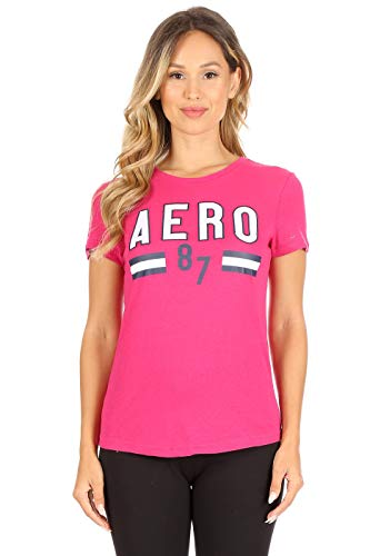 AEROPOSTALE Women's Varsity Embroidered Crew Neck T-Shirt, Fuchsia Purple, Medium