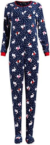 Rene Rofe Ladies Sleepwear One-Piece Holiday Micro-Fleece Footed Onesie Sleeper Pajama (Indigo Bunnies, Medium)