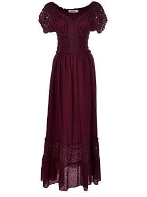 Anna-Kaci Boho Inspired Cap Sleeve Lace Trim Maxi Dress