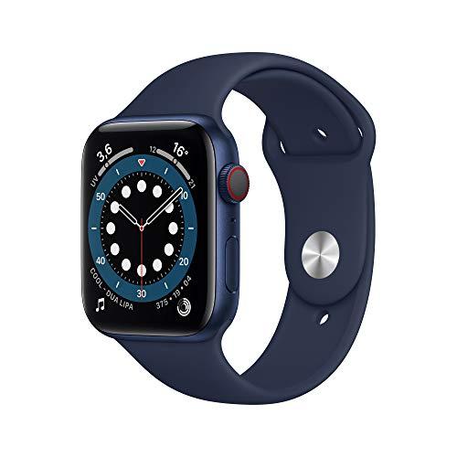 AppleWatch Series6 (GPS+ Cellular, 44 mm) Boîtier en Aluminium Bleu, Bracelet Sport Marine Intense