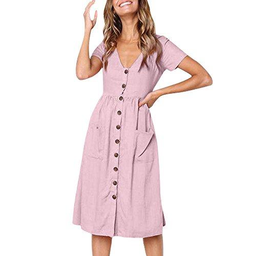 GOKOMO Damen Kleider Freizeit Langarm Rundhals Plissee Skater Midi Kleid mit Taschen(Rosa,X-Large)