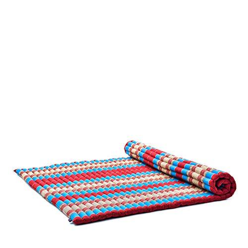 Leewadee Rollbare XL Thai Matte, 200x145x5 cm, Extrabreite Gästematratze Yogamatte Massagematte Ökologisches Naturprodukt, Kapok, blau rot