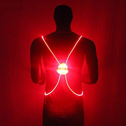 KAILUN Led Luz del Chaleco Iluminado Advertencia Carrera Nocturna Caminar Montar Chaleco Reflectante Cinco Colores con Pilas,Red