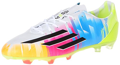 adidas Performance Men's F30 TRX Firm-Ground Messi Soccer Cleat, FTWR White/Black/Solar Slime, 13 M US