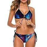 YJWLO Nebula Wolf Sexy Traje de baño de 2 piezas Bikini Sets para mujeres y niñas