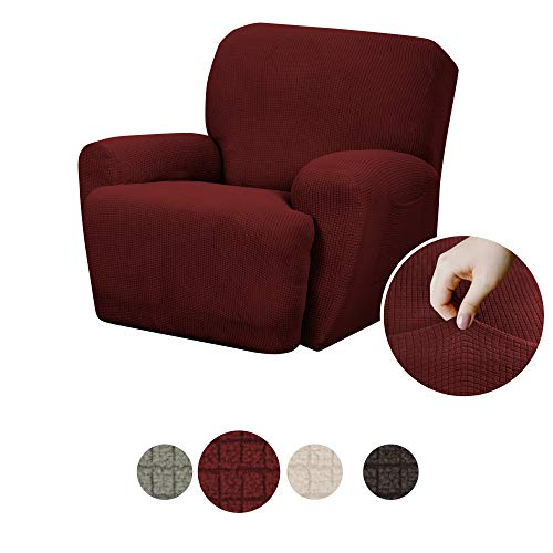 MAYTEX Reeves Stretch 4 - Piece Recliner Arm Chair Furniture Cover/Slipcover with Side Pocket, Red