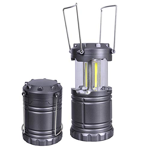 OOLOOYOO Tragbare LED-Camping Lantern, Ultra Bright Collapsible Lampe, Batterie Powered, Leichtbau-Camping-Leuchten für Wandern, Notfall, Hurricane, Power Outage, 1 Packung & 2 Packung,Gray,2packs