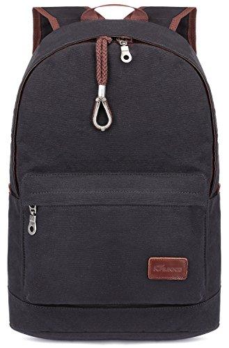 KAUKKO Multipurpose Vintage Canvas Backpacks Laptop Daypack Travel Hiking Rucksack Black …