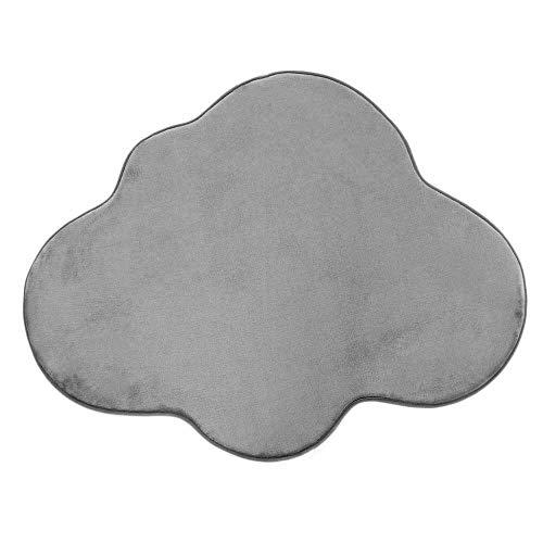 Tapis en Forme de Nuage Extra Doux Antidérapant, 90cm x 70cm, Gris